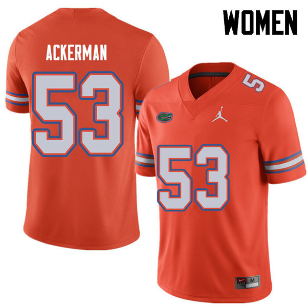 Jordan Brand Women #53 Brendan Ackerman Florida Gators College Football Jerseys Sale-Orange