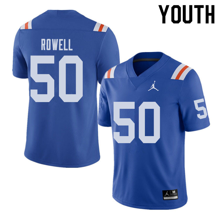 Jordan Brand Youth #50 Tanner Rowell Florida Gators Throwback Alternate College Football Jerseys Sal
